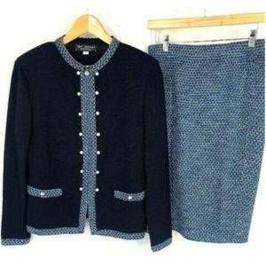 St. John Collection Skirt Suit Jacket Blue Set